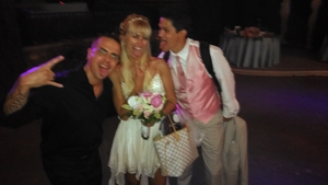 heritage museum wedding DJ bride and groom with DJMC IAN B at end of night